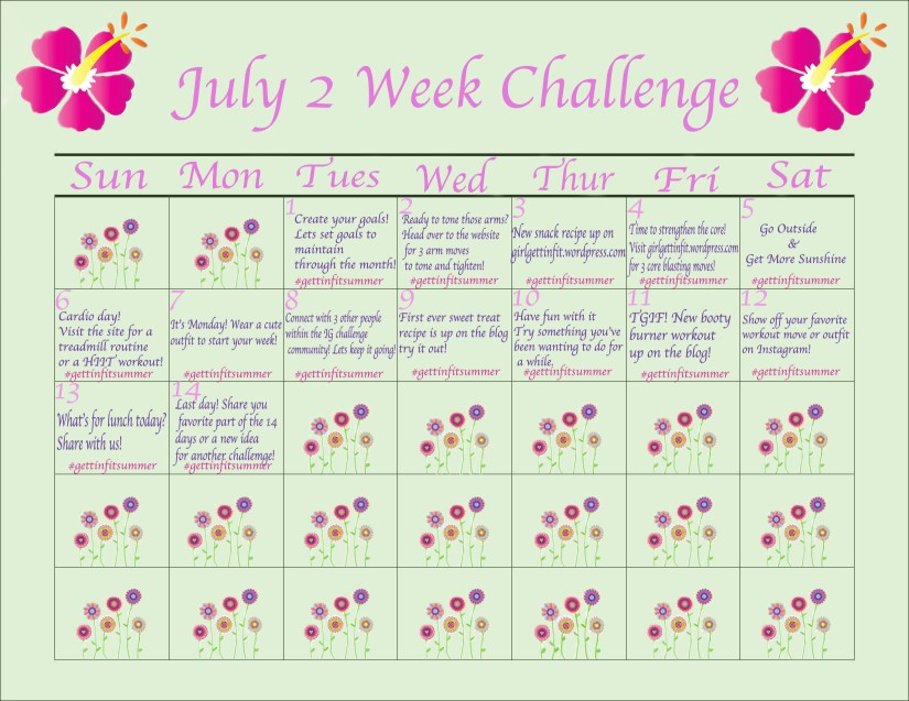 2 Week Challenge Calendar