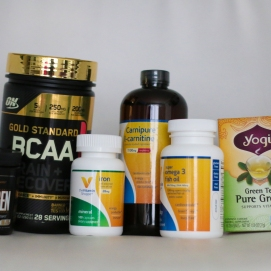 Various supplements I am taking. Fish oil and iron for general health, the Noxygen and BCAA's are for drinking before and during the workout. I also drink green tea as a fat burning supplement as well as L-carnitine for my metabolism and energy.